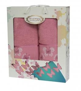 Набор полотенец из хлопка ТМ Gulcan 2 шт Cotton Butterfly Plum