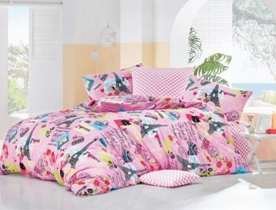 Постельное белье ТМ LightHouse бязь Love Paris розовый полуторное