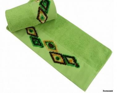 Полотенце с вышивкой ТМ Altinbasak Delux Tendora зеленый 70х140