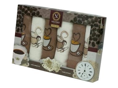 Набор полотенец кухонных ТМ Nilteks Coffee Time 1 6шт 30х50см