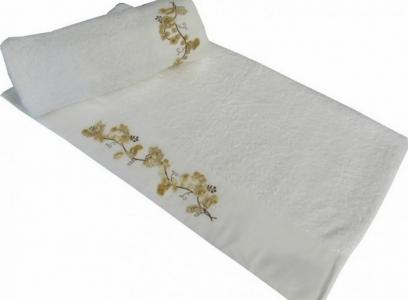Полотенце с вышивкой ТМ Altinbasak Delux Elara белое 70х140