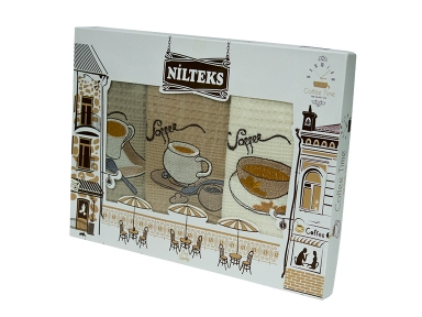 Набор полотенец кухонных ТМ Nilteks Coffee Time 2 3шт 50х70см