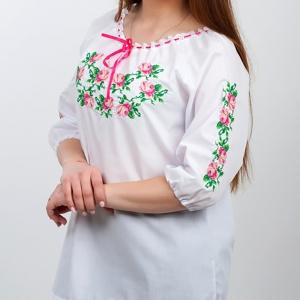Вышиванка женская Розочка нежность белая 1023