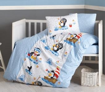 Детский постельный комплект ТМ Cotton Box ранфорс Penguen Mavi