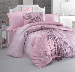 Постельное белье ТМ Luoca Patisca Ranforce De Luca розовое евро-размер