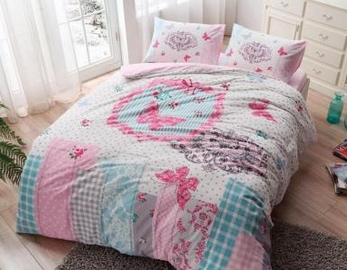Постельное белье ТМ TAC фланель Butterfly Pink евро-размер