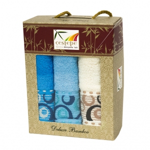 Набор кухонных полотенец из 3 штук Cestepe Bamboo blue bubbles 40х60