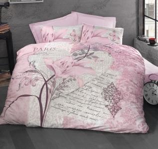 Постельное белье ТМ Luoca Patisca Ranforce Arte Bella розовое евро-размер