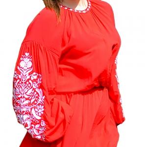 Платье Дерево жизни 1520 красное с белой вышивкой