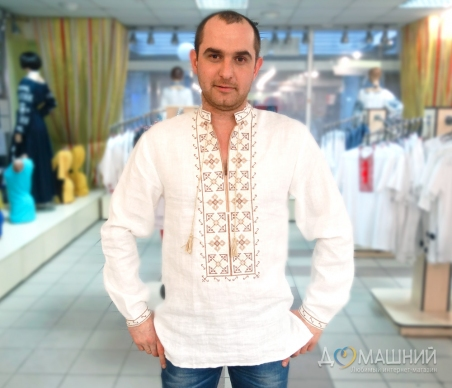 Вышиванка мужская белая с бежевой вышивкой 2003.1