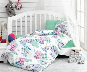 Детский постельный комплект ТМ Cotton Box ранфорс Elephant Mint