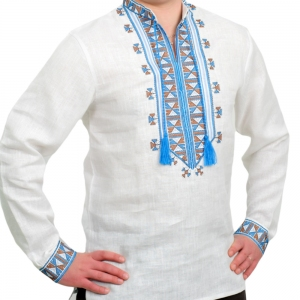 Вышиванка мужская Гетьман белая с синей вышивкой 2005.1