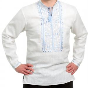 Вышиванка мужская белый лён 2004