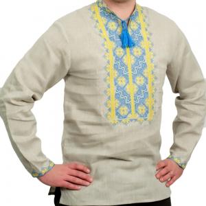 Вышиванка мужская серая жёлто-синяя 2004