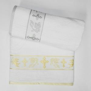 Полотенца махровые Турция крестильная-крыжма с ангелом, круглый крест