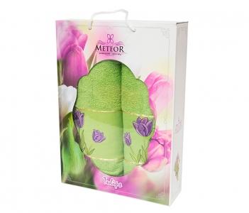 Набор хлопковых полотенец Turkiz Meteor Tulip зелёный