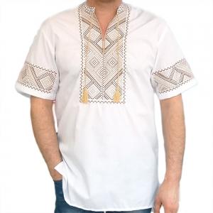 Вышиванка мужская коричневая вышивка 2013