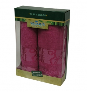 Набор полотенец из 2 штук ТМ Gursan Bamboo dark rose