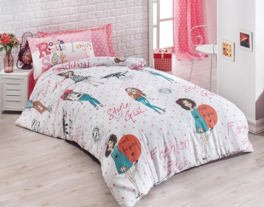 Подростковое постельное бельё ТМ Eponj Home ранфорс Fashion Girl Pembe