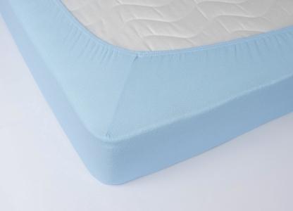 Простынь на резинке махровая ТМ Lotus голубая