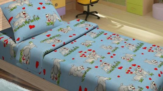 Постельное бельё ТМ Lotus ранфорс детский Dogi голубой