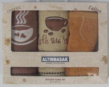 Набор полотенец кухонных с вышивкой ТМ Altinbasak 3 шт Mocha 30x50