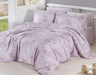 Постельное белье ТМ First Choice сатин-люкс Dolaris violet евро-размер