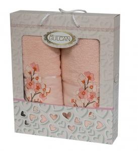 Набор полотенец из хлопка ТМ Gulcan 2 шт Cotton Flowers Salmon