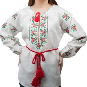 Вышиванка женская Розочки красная с зелёным 1010.1