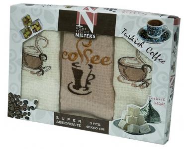 Набор полотенец кухонных ТМ Nilteks Coffee Time 4 3шт 50х70см