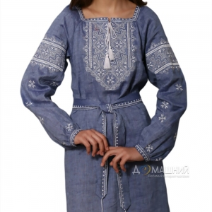 Платье Твори мир 1527 лен джинс с белой вышивкой длинный рукав
