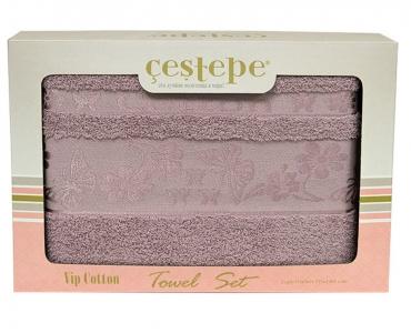 Набор полотенец из 2 штук ТМ Cestepe VIP Cotton фиолетовый