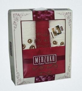 Набор полотенец из хлопка Merzuka бордовый и белый