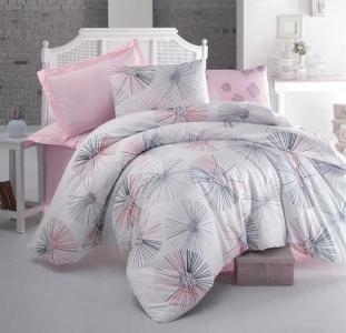 Постельное белье ТМ Luoca Patisca Ranforce Elissa розовое евро-размер