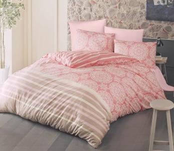 Постельное белье ТМ Luoca Patisca Ranforce Morbido розовое евро-размер