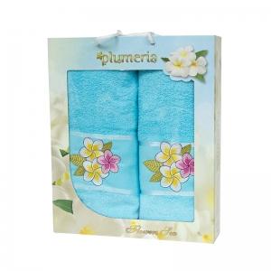 Набор хлопковых полотенец Turkiz Plumeria голубой 2 шт
