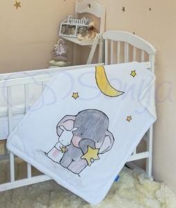 Плед-конверт ТМ Маленькая Соня Akvarel Слоник с зайкой 80х90