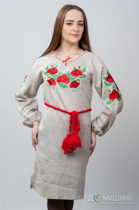 Вышитое платье Укроп и мак 1500