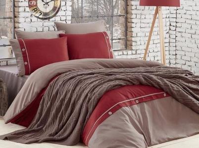 Постельное белье с пледом ТМ First Choice Nirvana Raina Vizon евро-размер