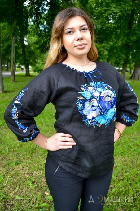 Вышиванка женская Петриковка черная с синим 1021