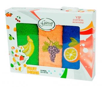Набор полотенец кухонных 3шт ТМ Gursan фрукты 3 30х50