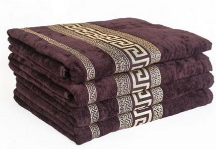 Махровое полотенце с золотым бордюром Узбекистан 430г/м2 темно- коричневое