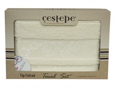 Набор полотенец из 2 штук ТМ Cestepe VIP Cotton белый