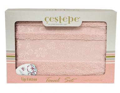 Набор полотенец из 2 штук ТМ Cestepe VIP Cotton розовый