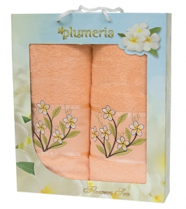 Набор хлопковых полотенец Turkiz Plumeria персиковый 2 шт