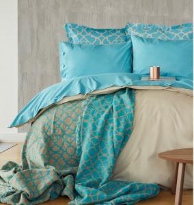 Постельное белье с пледом ТМ Karaca Home Misto Turkuaz евро-размер