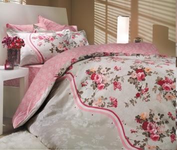 Постельное белье ТМ Hobby Poplin Susana розовое евро-размер