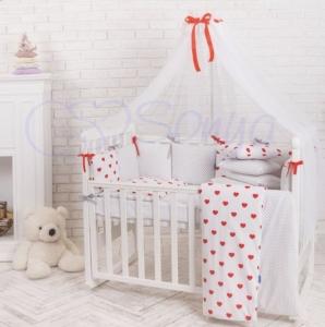 Детский набор из 7 предметов ТМ Маленькая Соня Baby Design Сердца красные