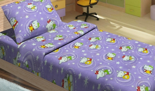 Подростковое постельное бельё ТМ Lotus ранфорс Hello Kitty Star V2 лиловый