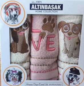 Набор полотенец кухонных с вышивкой ТМ Altinbasak 3 шт Love Kopek 30x50